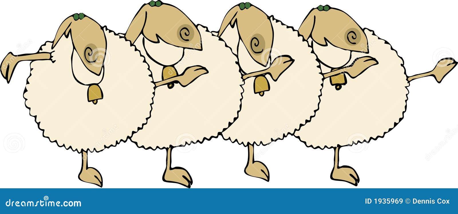 Sheep Chorus Line Stock Vector Image Of Unison Line