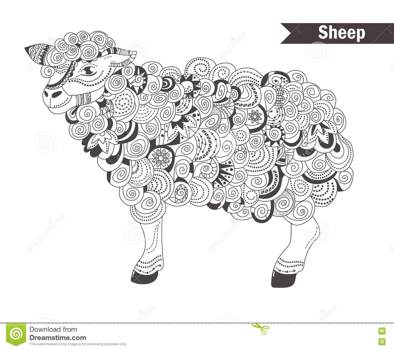 Sheep Coloring Book Stock Vector Image 73044768