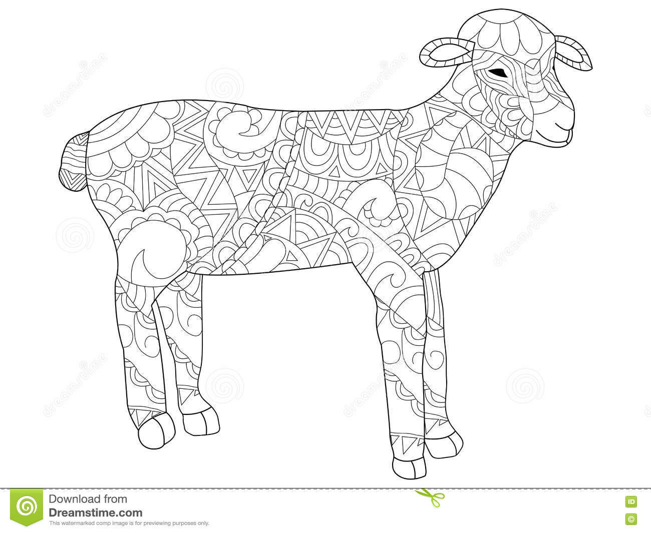sheep coloring vector for adults stock vector image 78256799