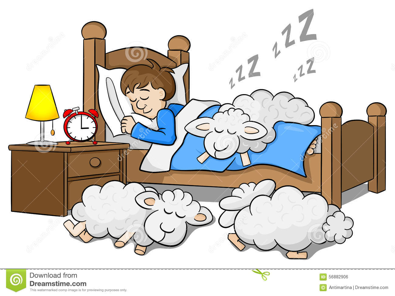 sheep fall asleep on the bed of a sleeping man stock vector image 56882906. Black Bedroom Furniture Sets. Home Design Ideas