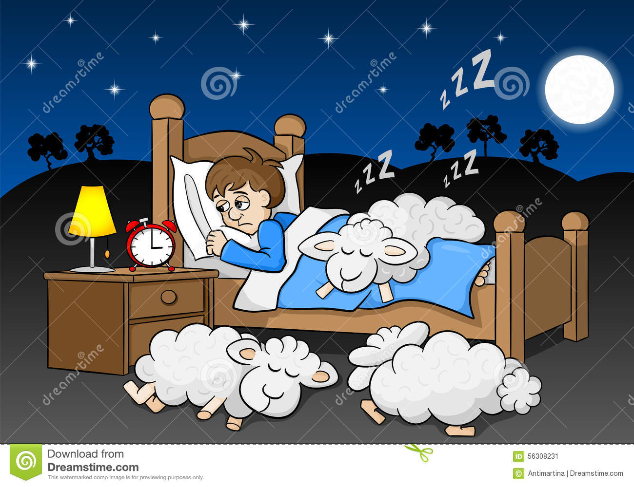 Stock Illustration Sheep Fall Asleep Bed Sleepless Man Vector Illustration Image56308231 on Thank You Card Modern Graphics Cards For