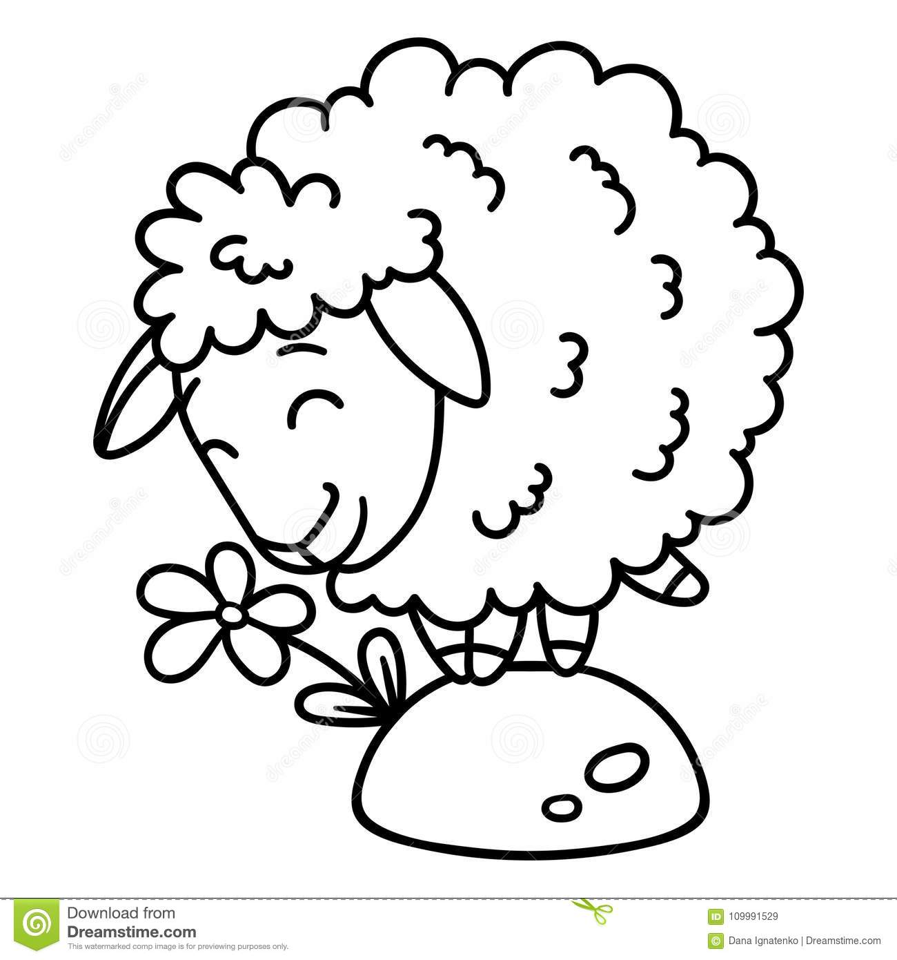 Download Sheep With A Flower Isolated Objects On White Background Vector Illustration Coloring