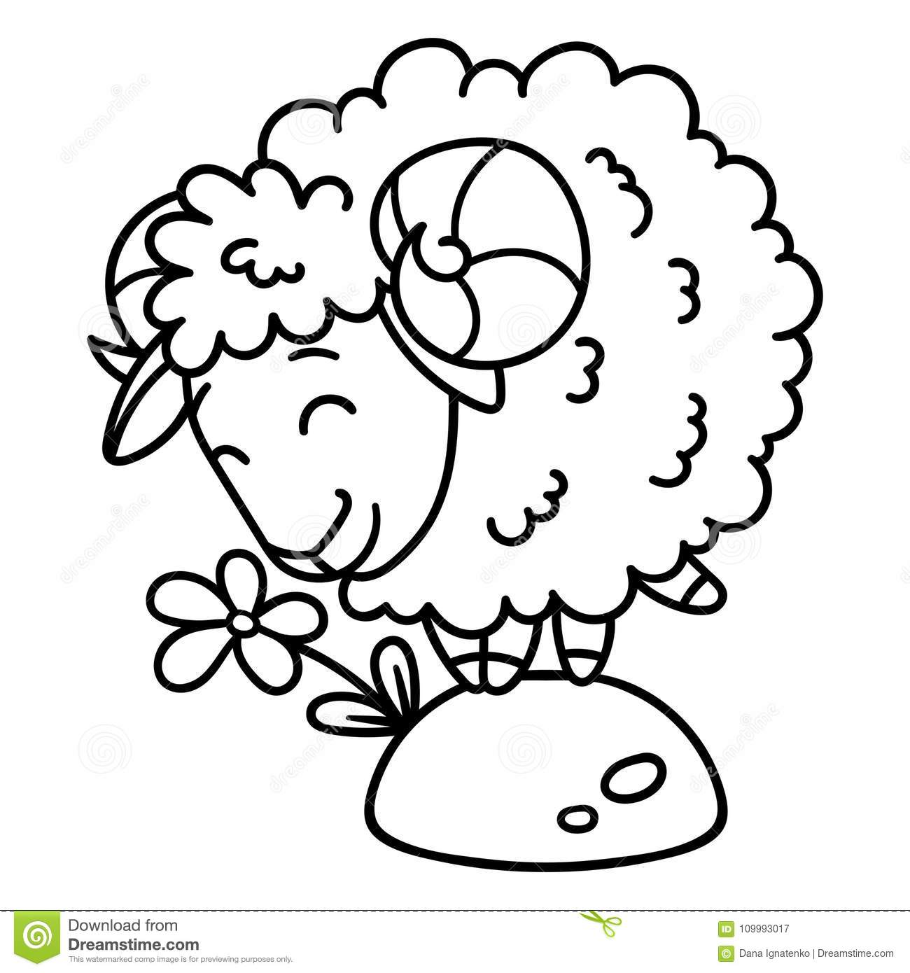 Sheep With A Flower. Isolated Objects On White Background. Vector ...