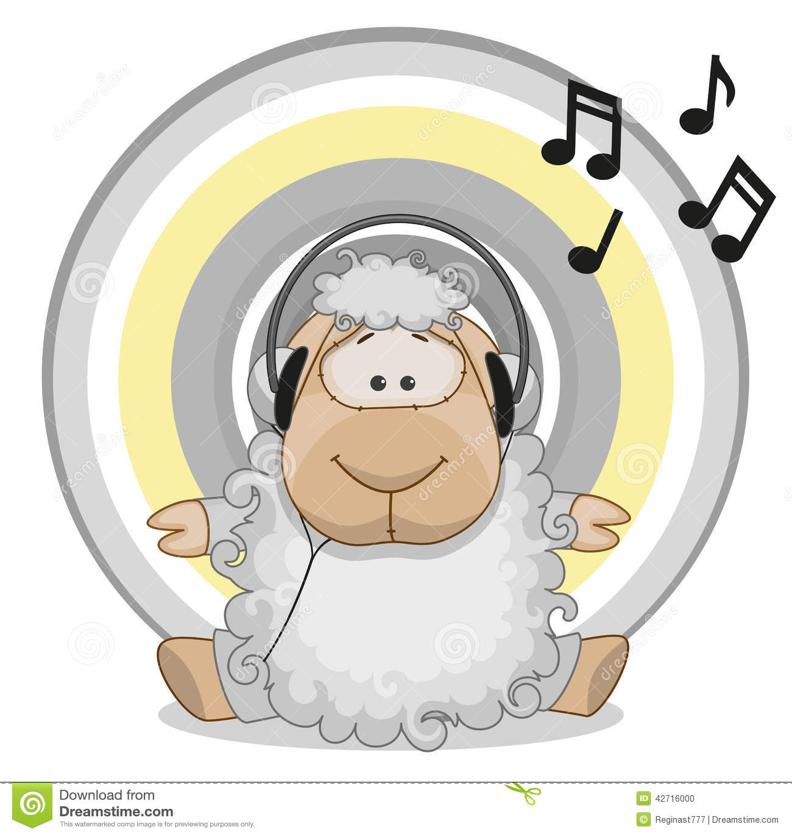Sheep With Headphones Stock Vector Image 42716000