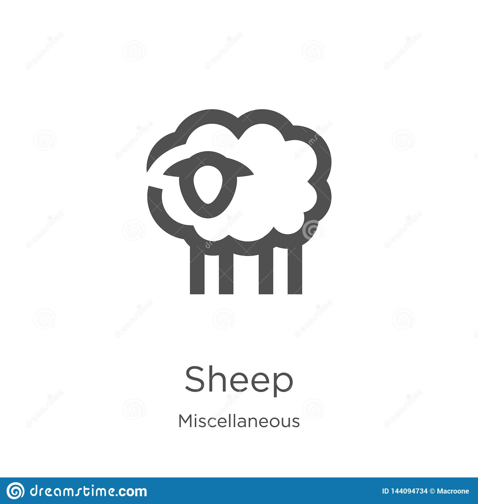 sheep icon vector from miscellaneous collection. Thin line sheep outline icon vector illustration. Outline, thin line sheep icon