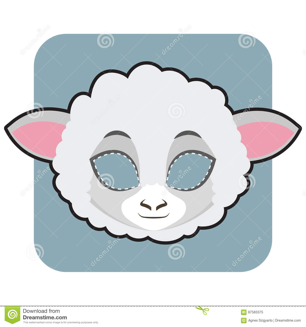 Sheep Mask For Festivities Stock Vector - Image: 87583375