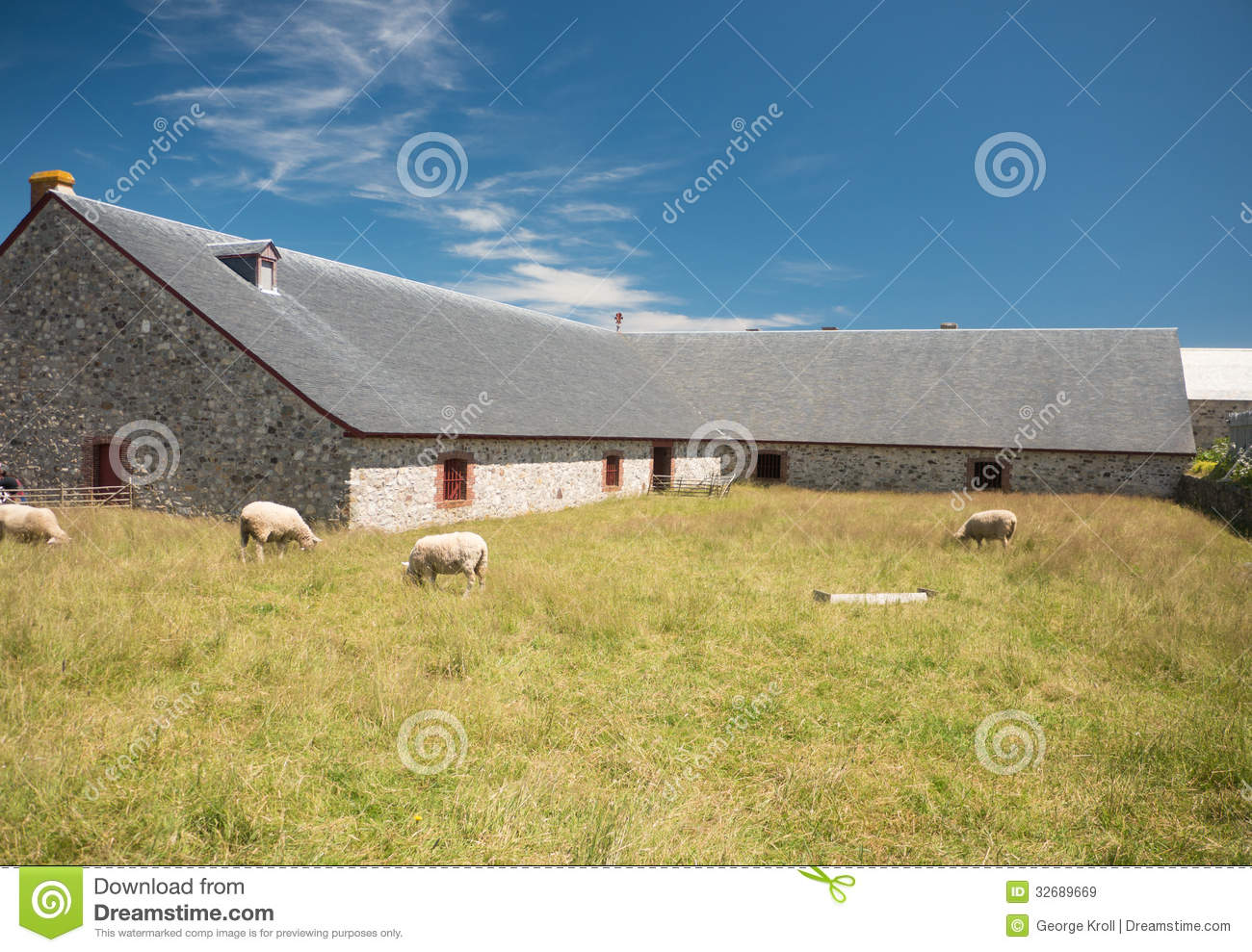 Sheep And Old Stone Barn Stock Image Of Blue Peaceful