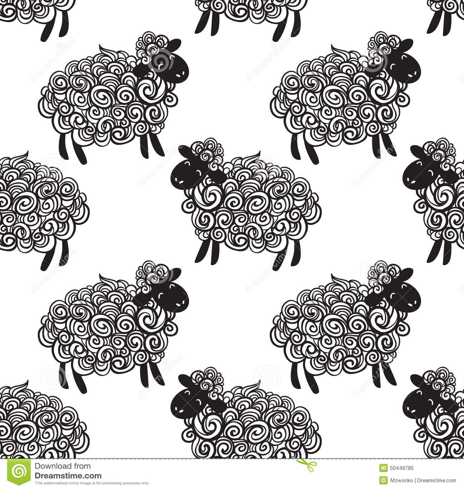 Sheep Pattern Vector Background Stock Illustration Image