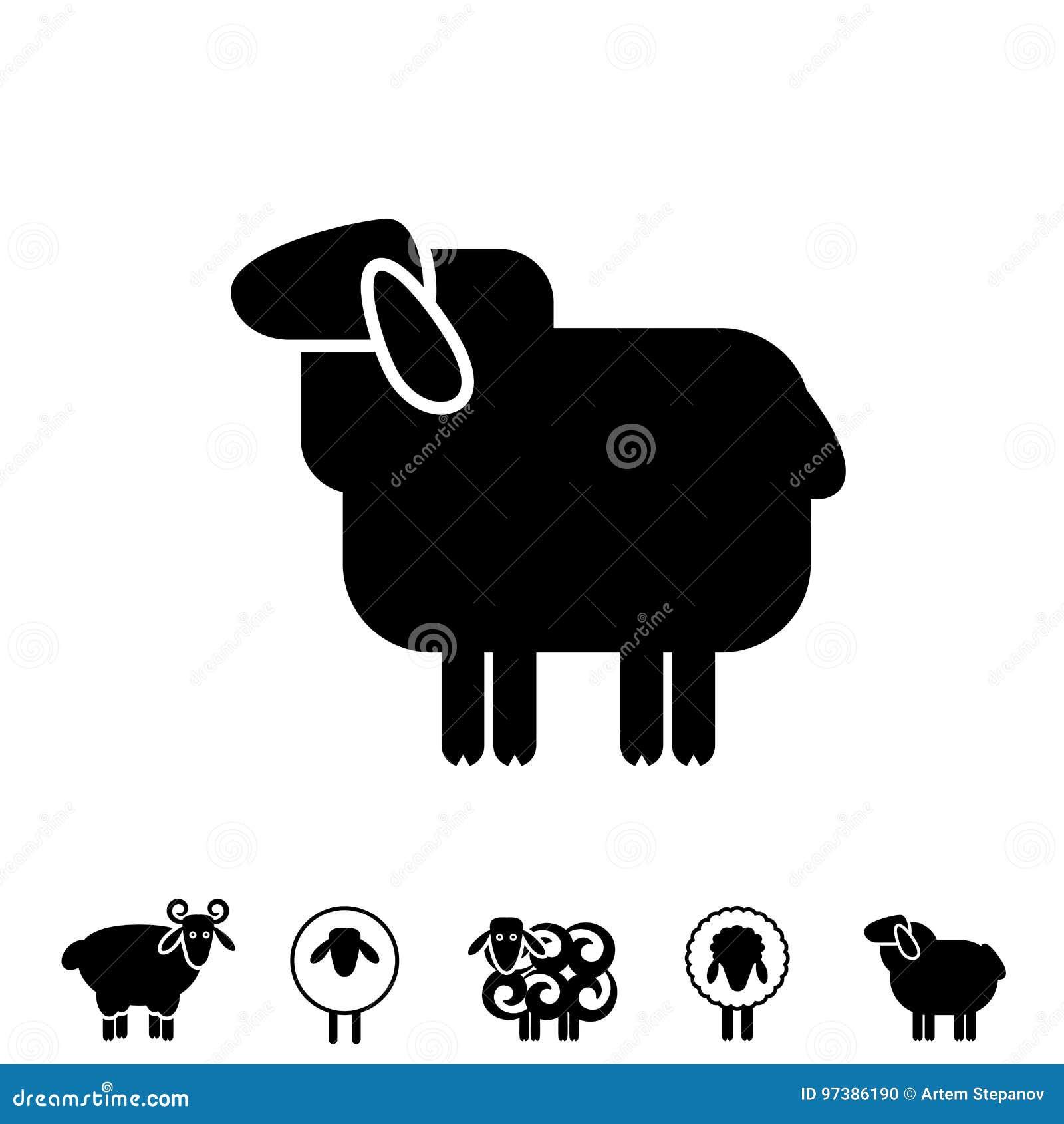 Sheep Or Ram Icon, Logo, Template, Pictogram Stock Vector