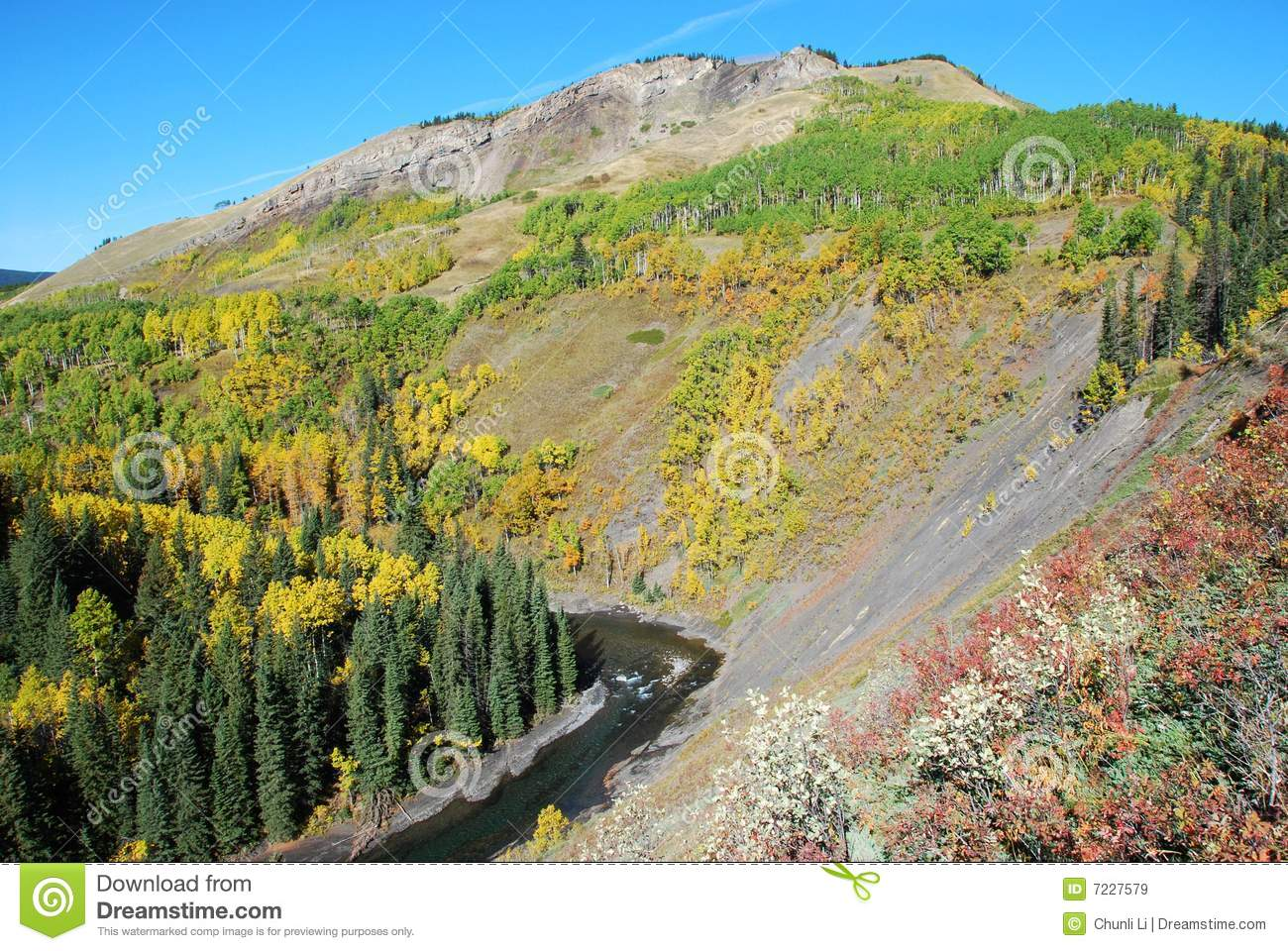 Sheep River Valley In Autumn Royalty Free Stock Images