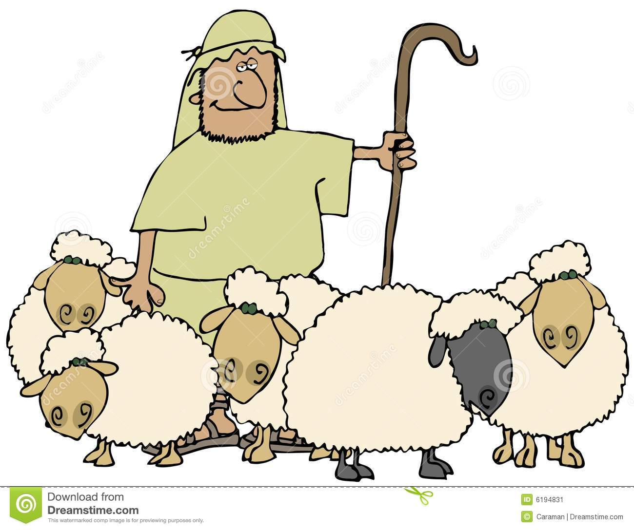 Sheep And Shepherd stock illustration. Illustration of ...
