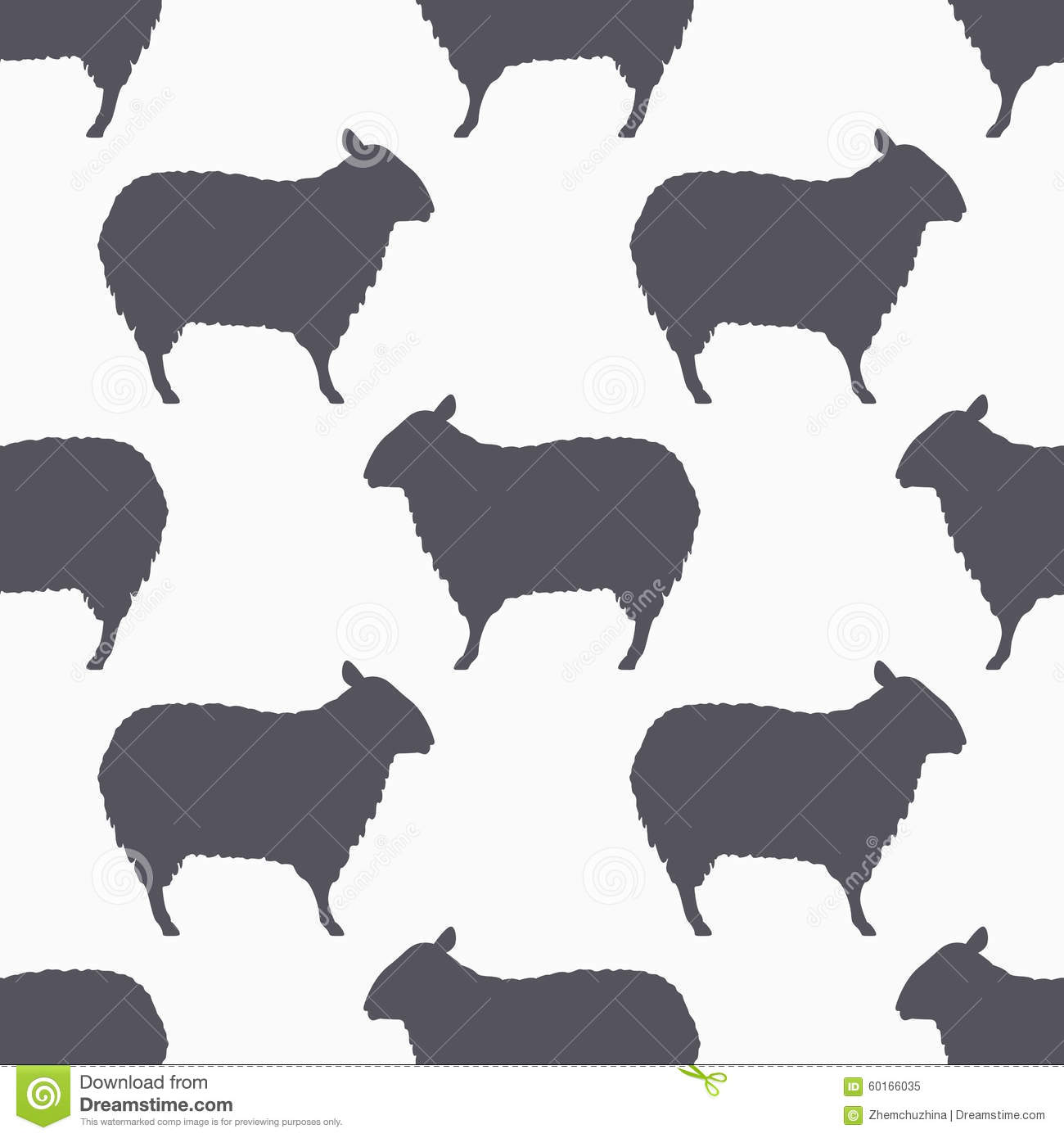Sheep Silhouette Seamless Pattern. Lamb Meat Background Stock Vector ...