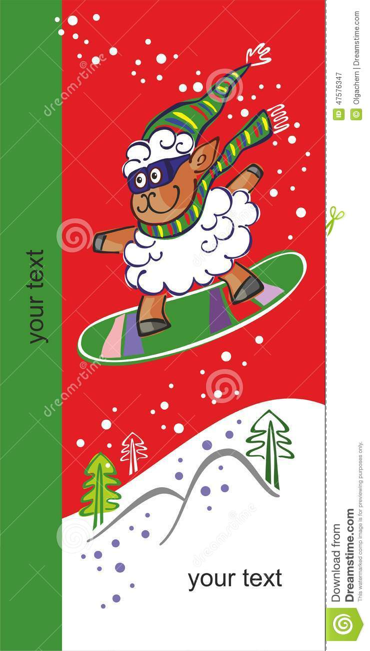 Sheep On A Snowboard New Year 2015 Stock Vector Illustration Of