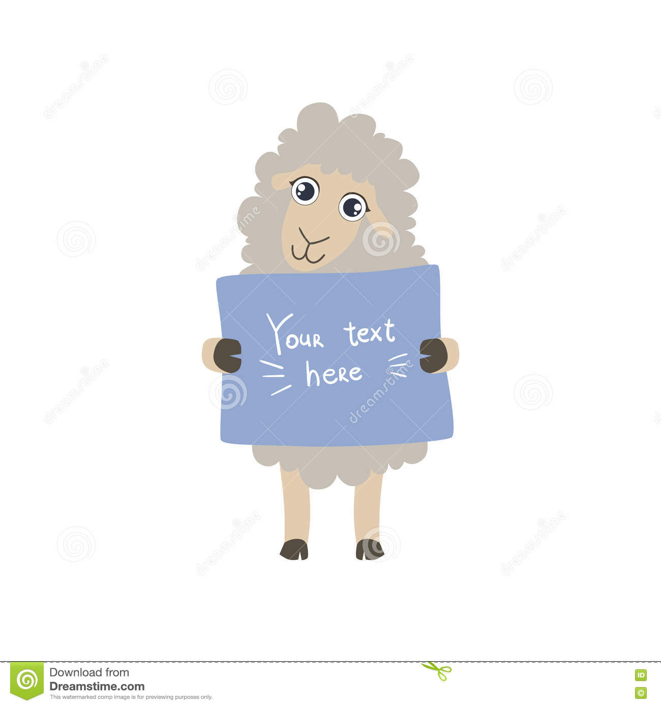 Sheep With The Template For The Message Stock Vector