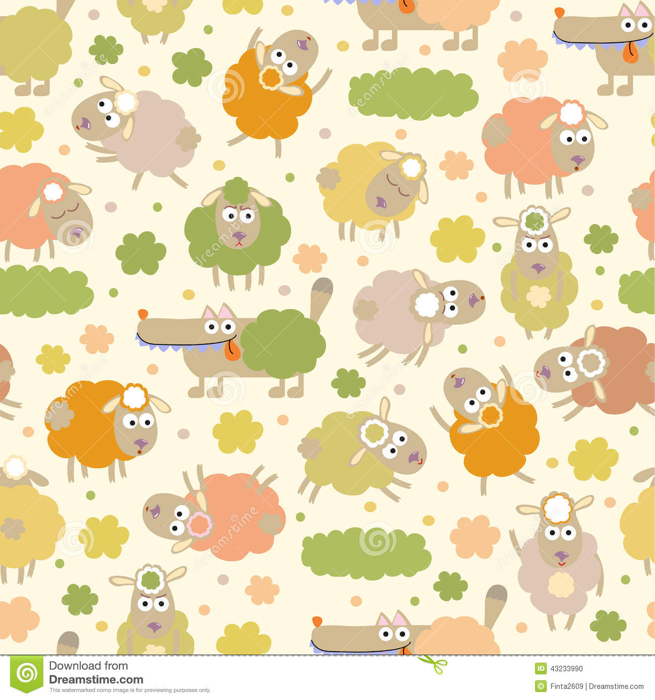 Sheep And Wolf Stock Vector Illustration Of Childish