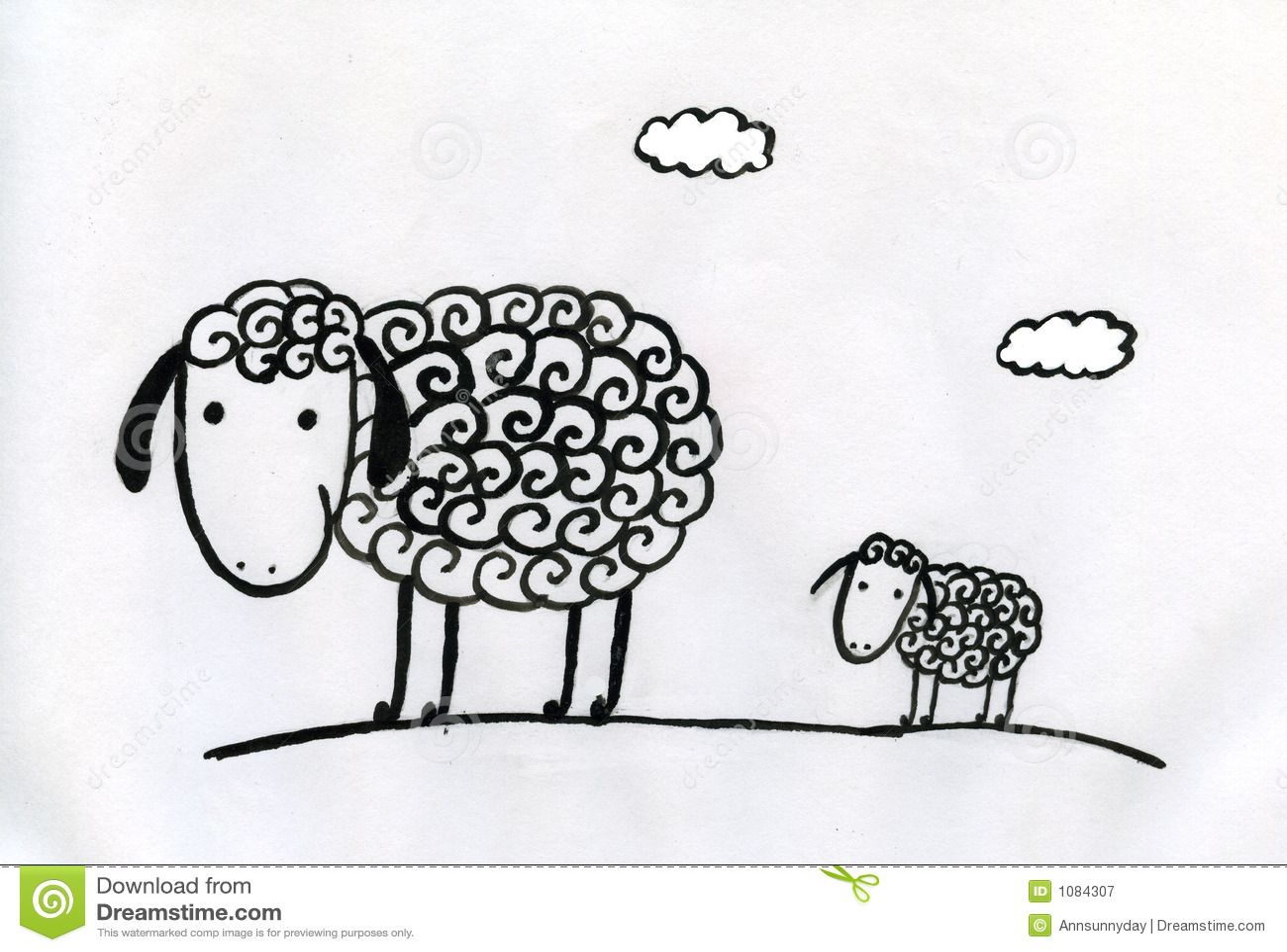 Download Sheeps stock illustration. Illustration of kids, cute - 1084307