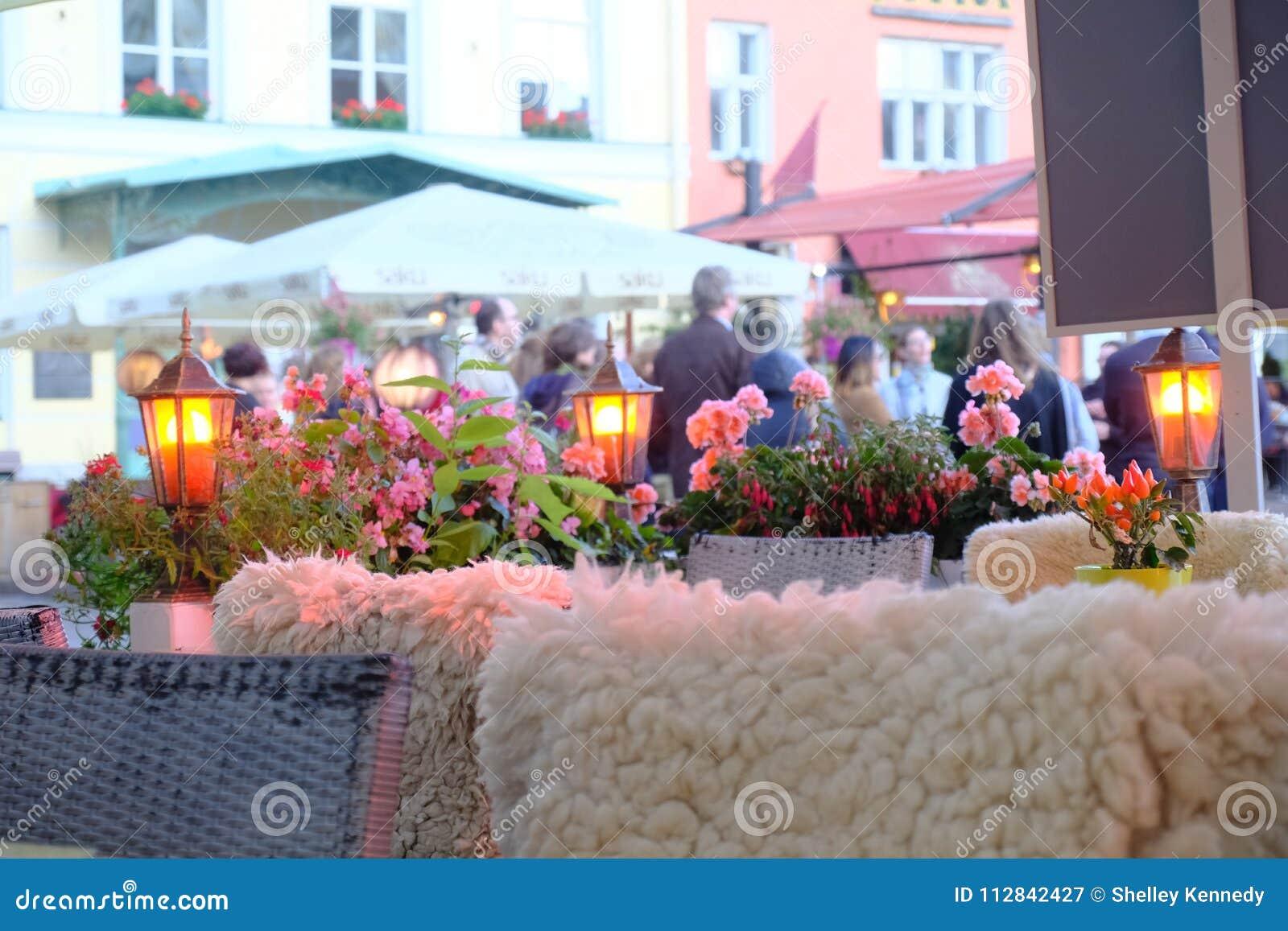 Pretty outdoor scene in the town square of Tallinn, Estonia