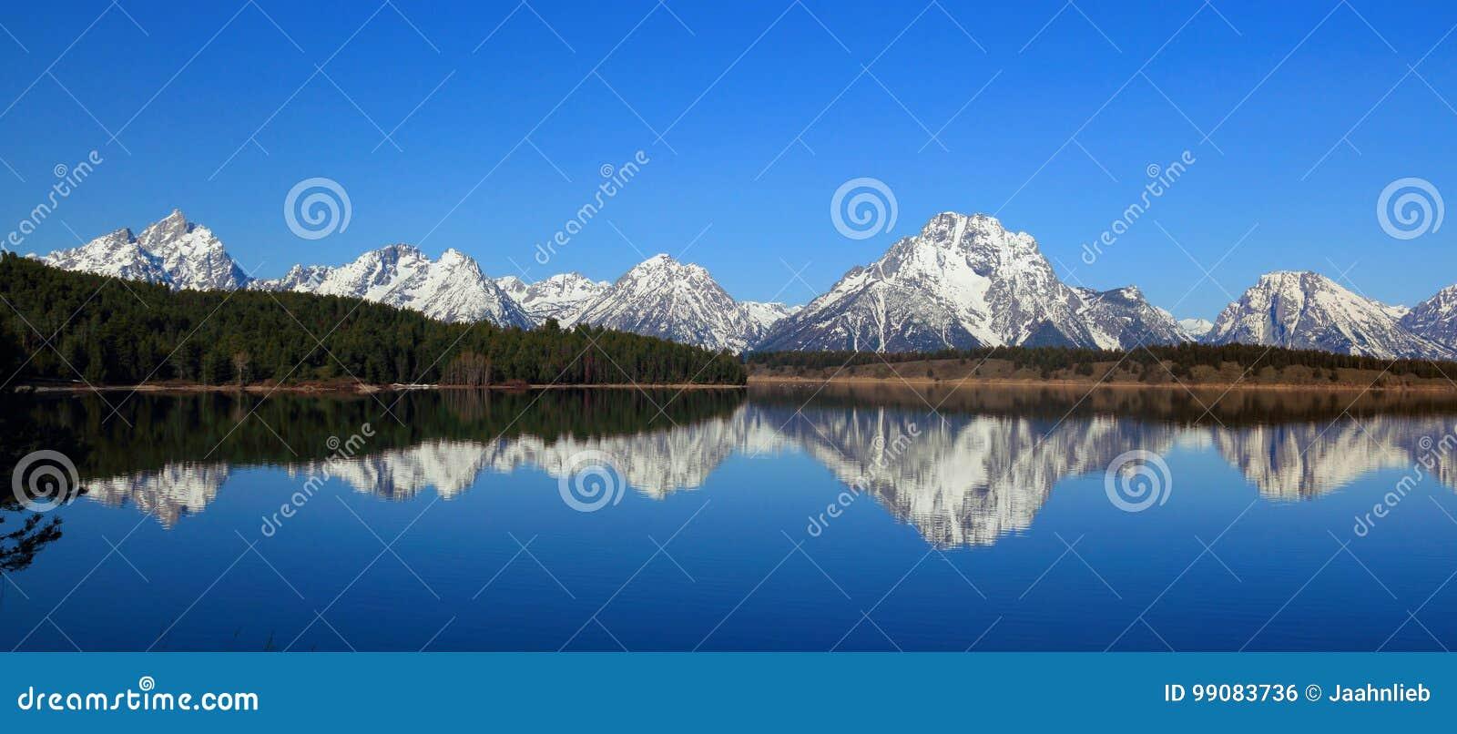 Mount Moran reflected in Jackson Lake, Grand Teton National Park, Wyoming