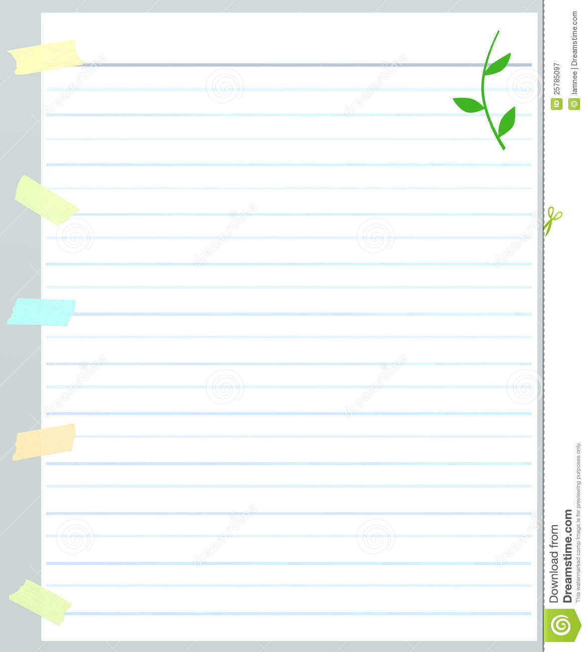 A Sheet Of Lined Paper With Masking Tape Royalty Free Stock
