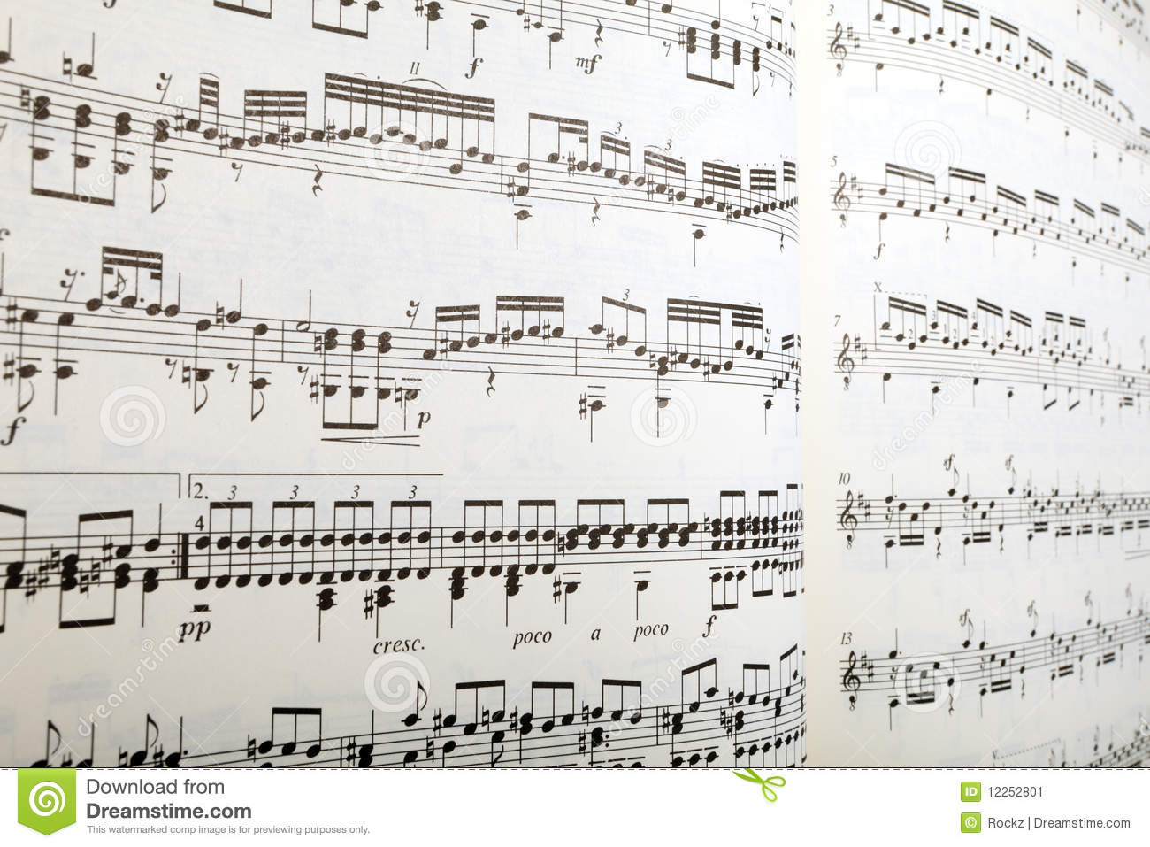 Sheet music in perspective