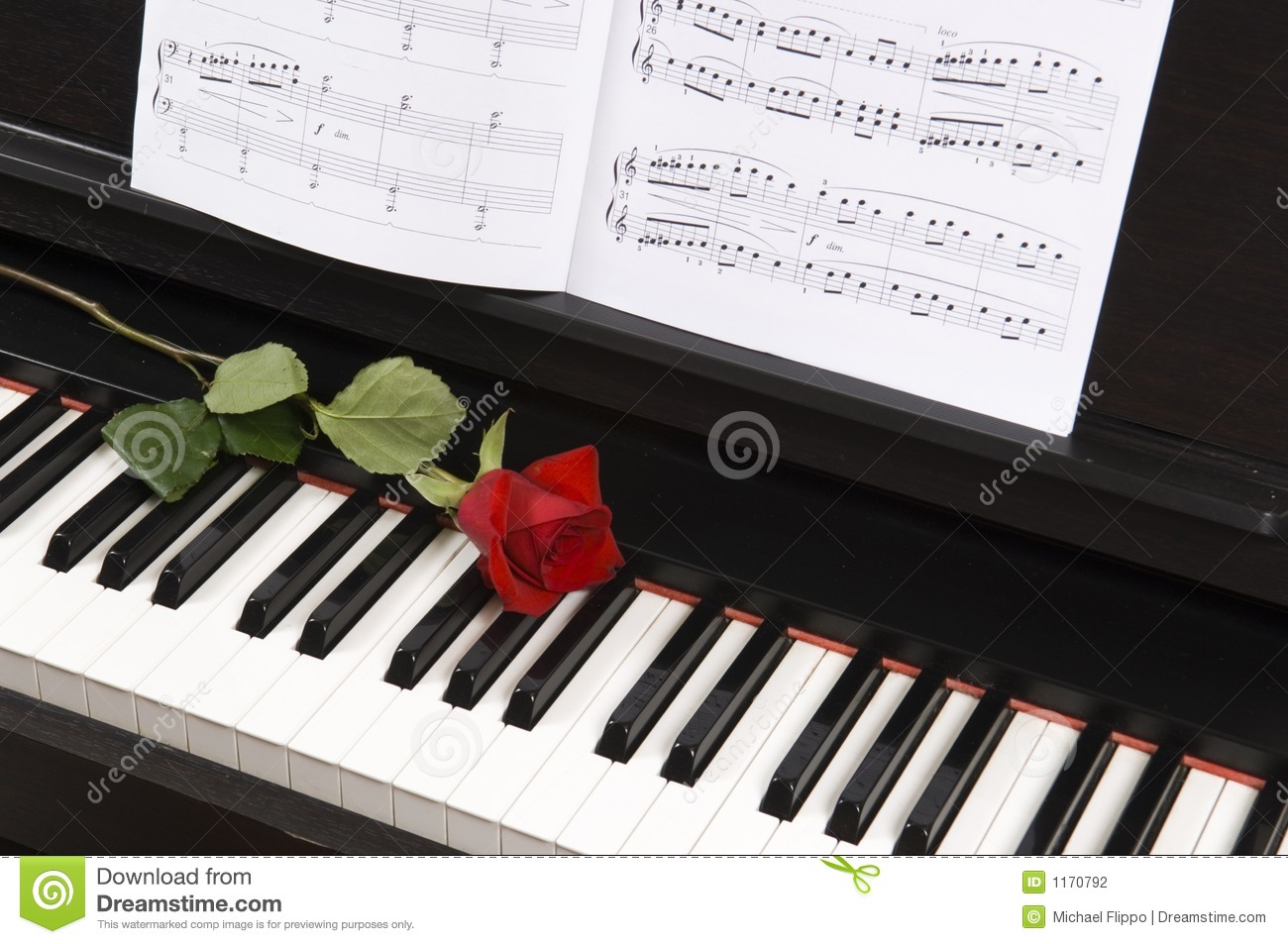 Sheet Music With Rose On Piano Treble Staff
