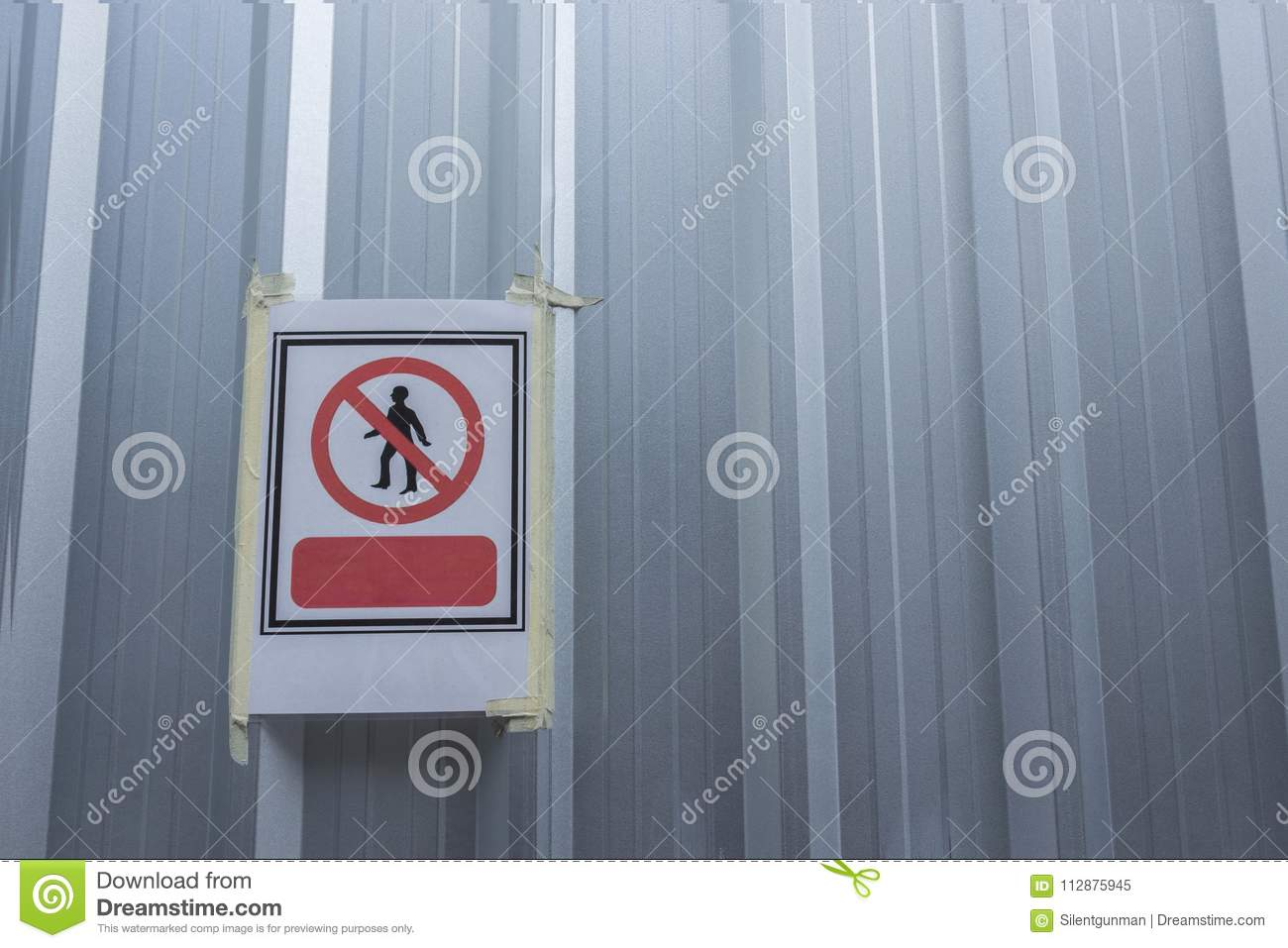 no entry sign sheet on site wall stock image image of corrugated