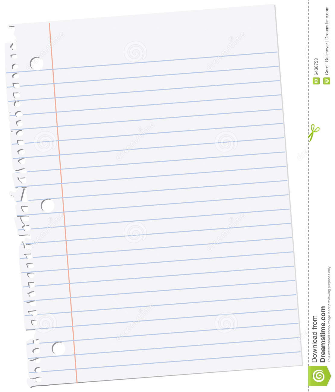 single sheet of ruled notebook paper from a spiral binding.