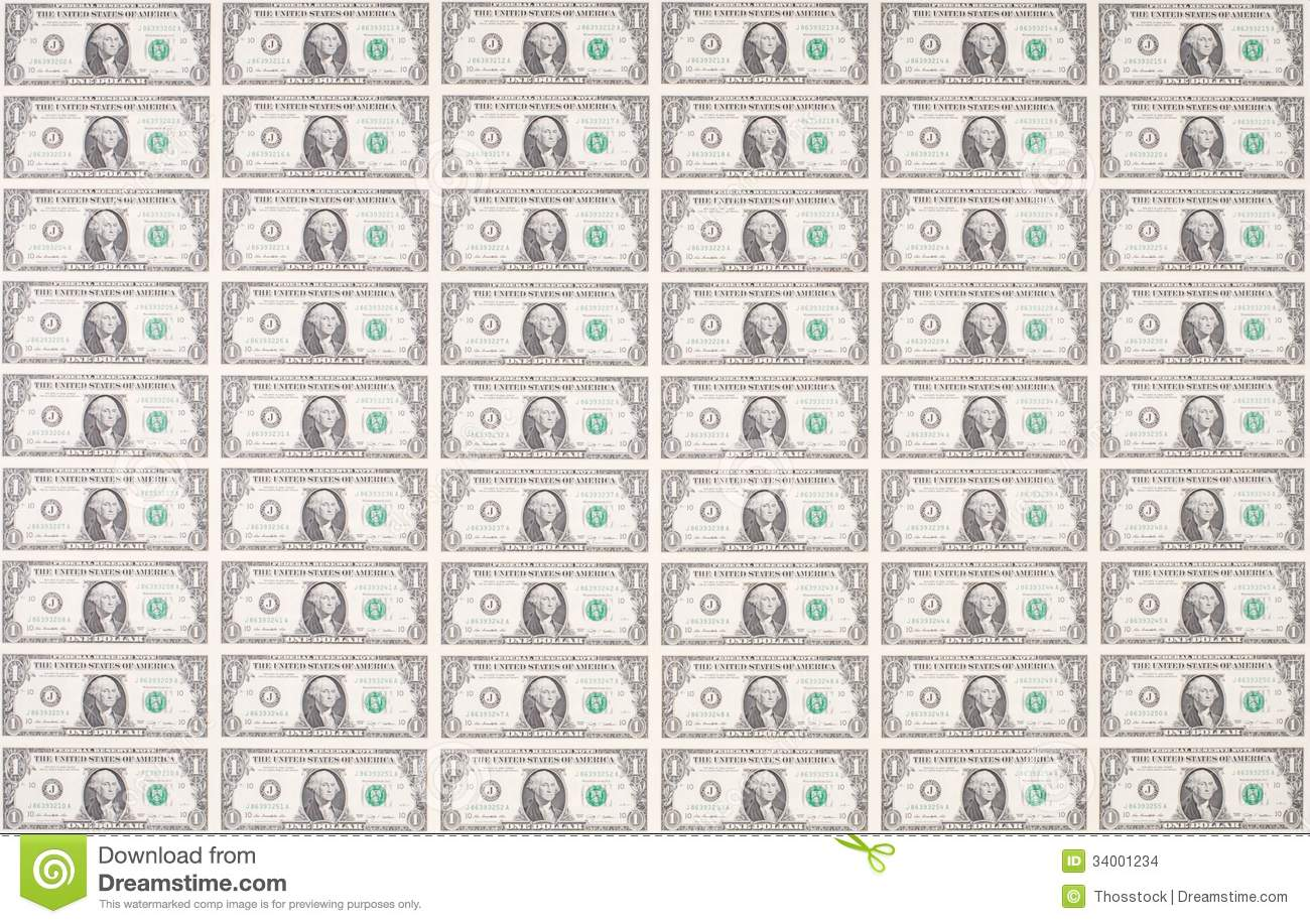 Sheet Of One Dollar Bills As Wallpaper Stock Photo Image 34001234