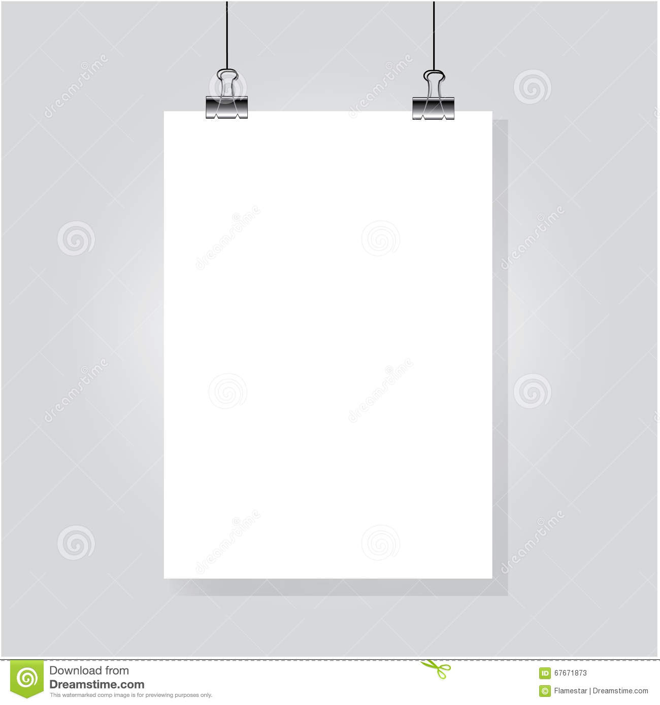 Sheet of paper hanging on the wall stock vector image for Fomic sheet wall hanging