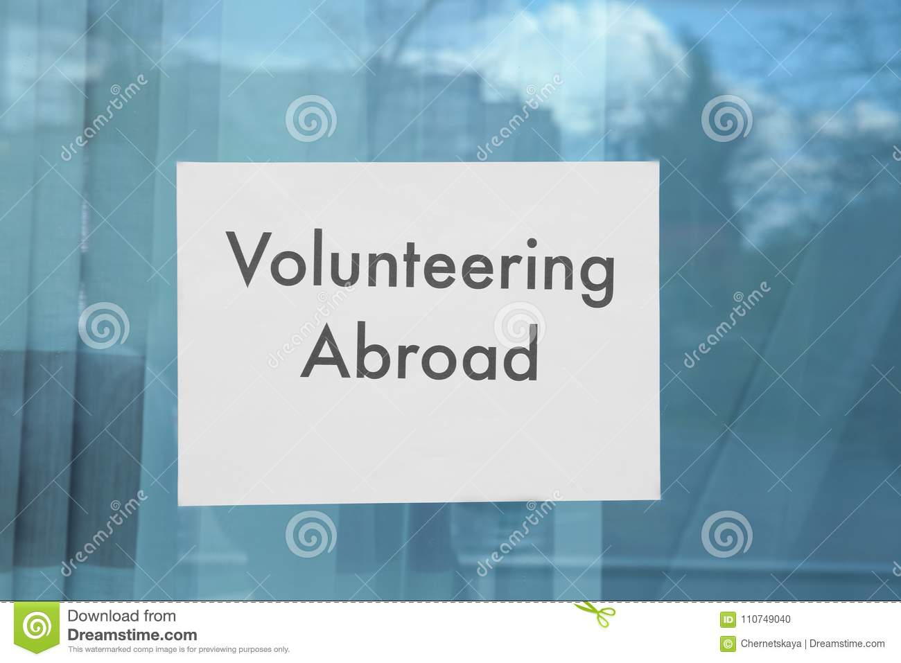 sheet of paper with text volunteering abroad stock photo image of