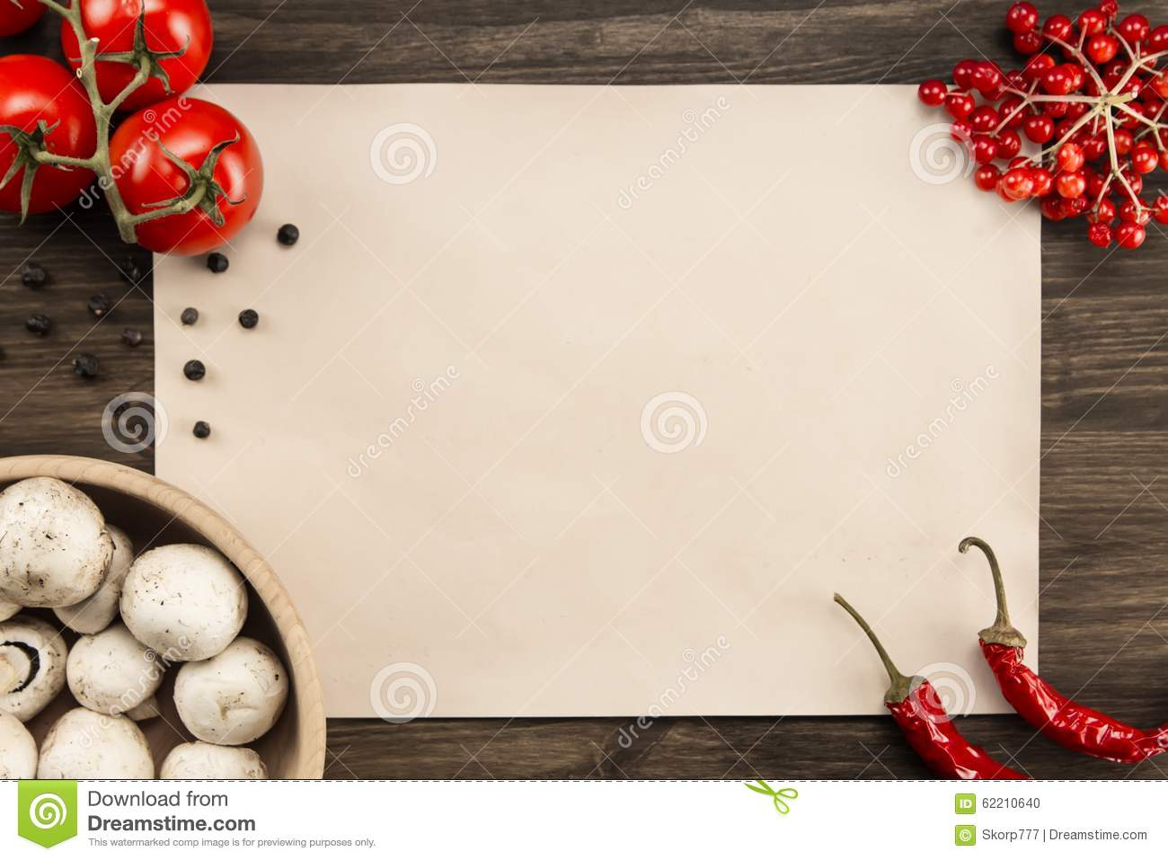 Rustic Cooking Sheet Vintage Paper With Tomatoes Mushrooms Chile Pepper
