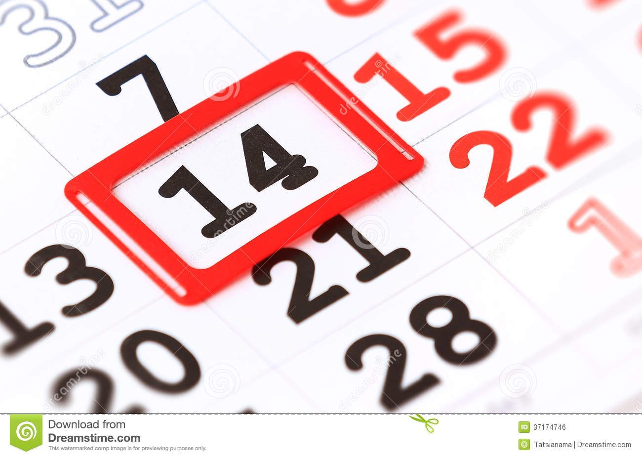 Sheet Of Wall Calendar With Red Mark On 14 February Royalty Free Stock ...