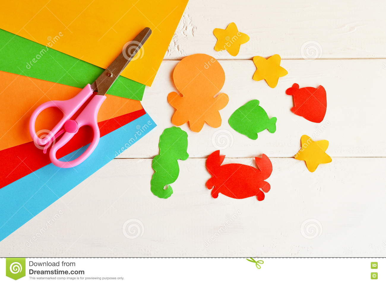 Sheets Of Colored Paper Scissors Glue Paper Fish And Sea