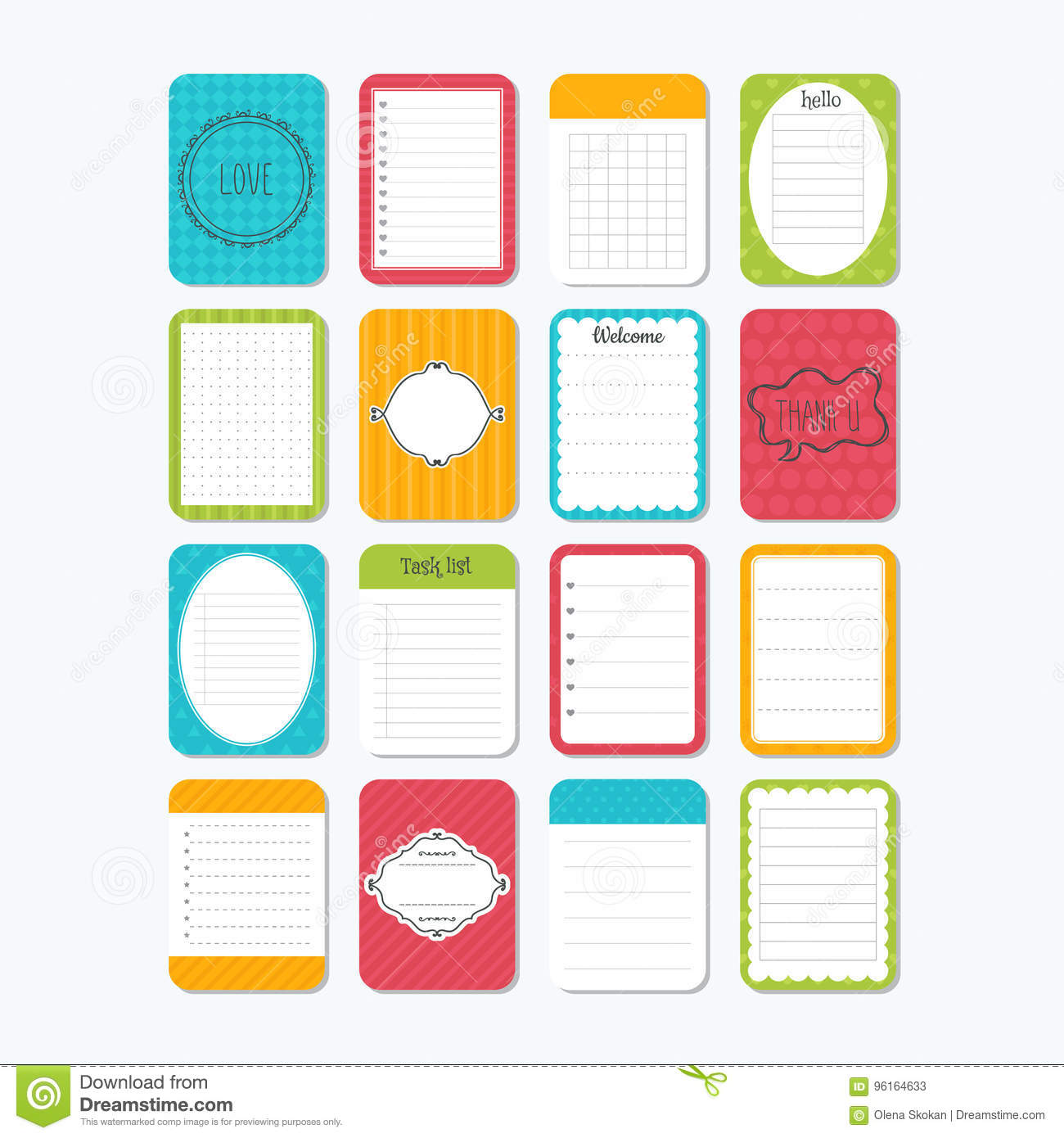 Sheets Of Paper Collection Of Various Note Papers Template Notepad