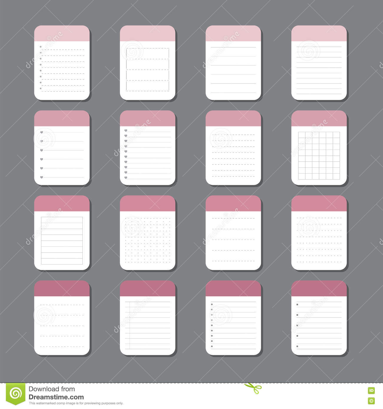 Sheets Of Paper Template Notepad Design Stock Vector