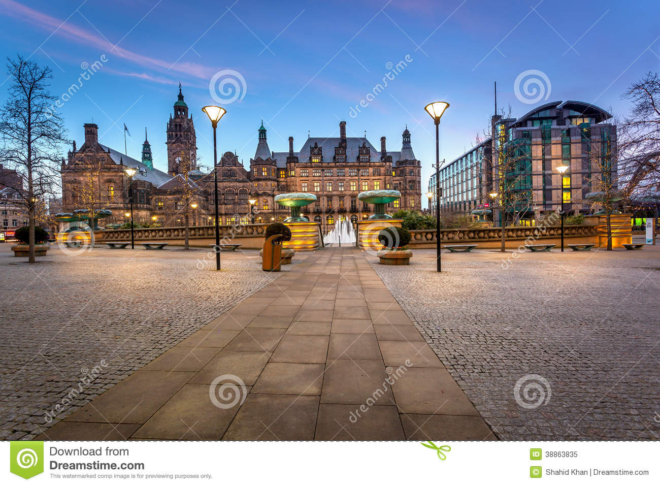 sheffield town hall panoramic view stock image image of blue city 38863835. Black Bedroom Furniture Sets. Home Design Ideas