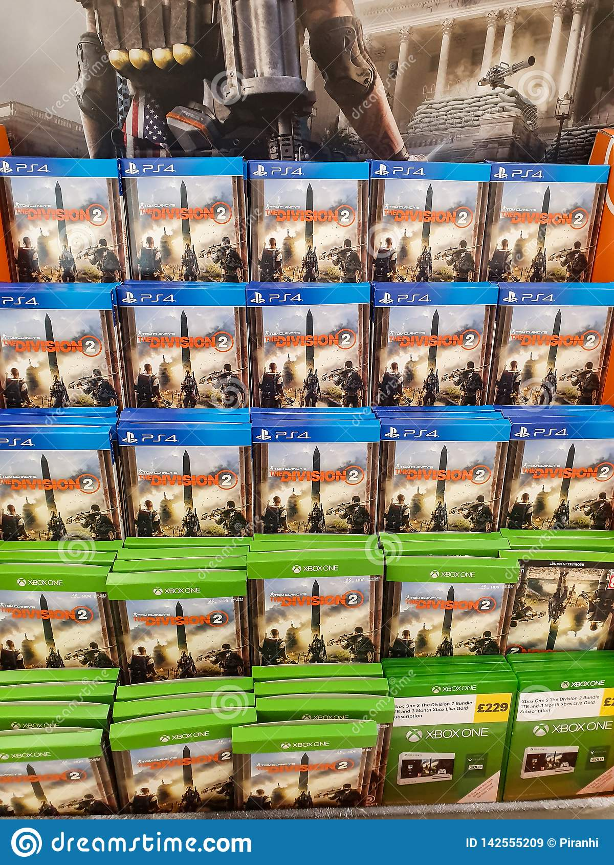 SHEFFIELD, UK - 20TH MARCH 2019: Division 2 for sale in Tesco for both the XBox One and Playstation 4