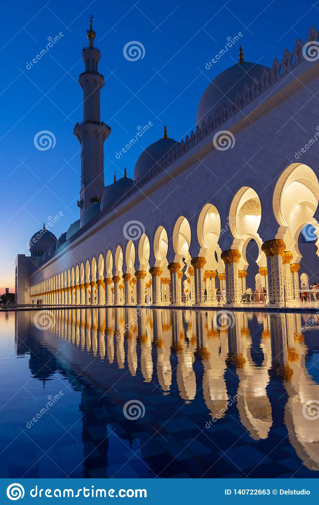 Sheikh Zayed Grand Mosque in Abu Dhabi near Dubai illuminated at night, UAE
