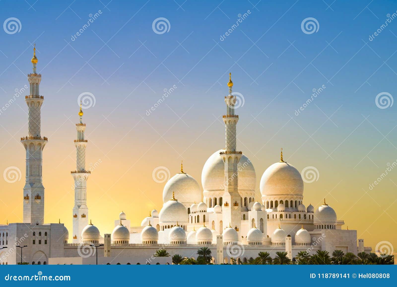 Sheikh Zayed Grand Mosque Abu Dhabi, soluppgång på den storslagna moskén, Abu Dhabi