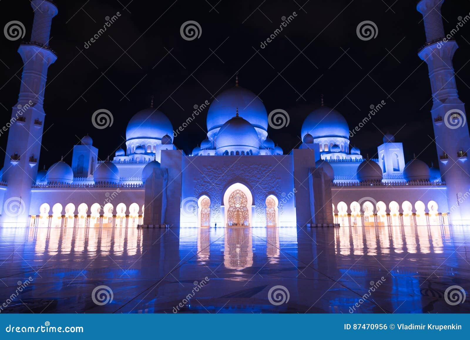 Sheikh Zayed Grand Mosque Centre Abu Dhabi Iluminado En La