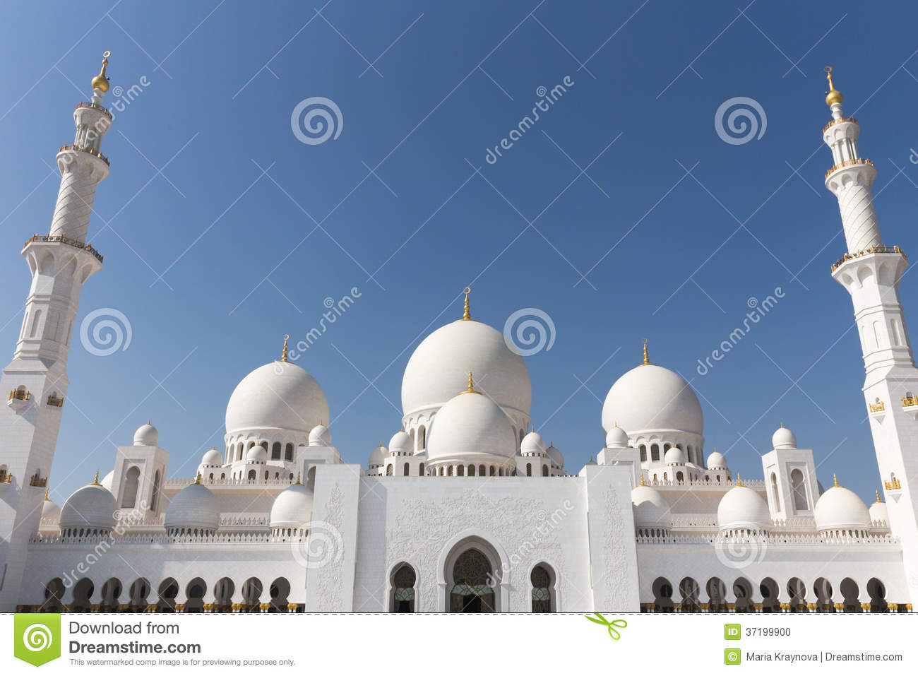 Exterior: Sheikh Zayed Mosque In Abu Dhabi Stock Photo