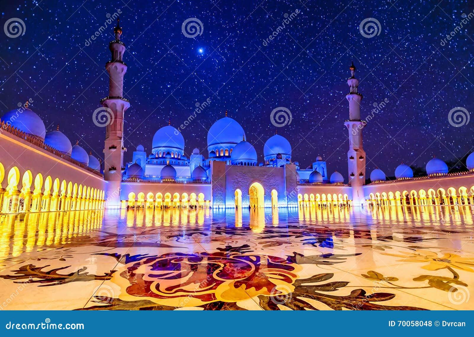 Sheikh Zayed Uroczysty meczet w Abu Dhabi, UAE przy nocą