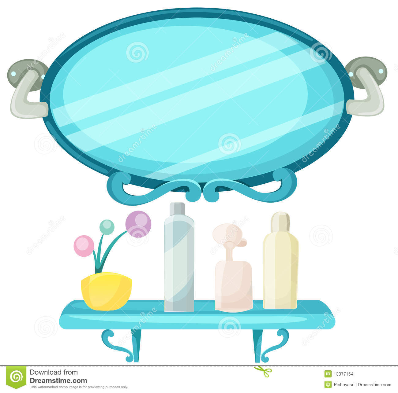 Shelf In A Bathroom With Mirror Stock Vector - Illustration of ...