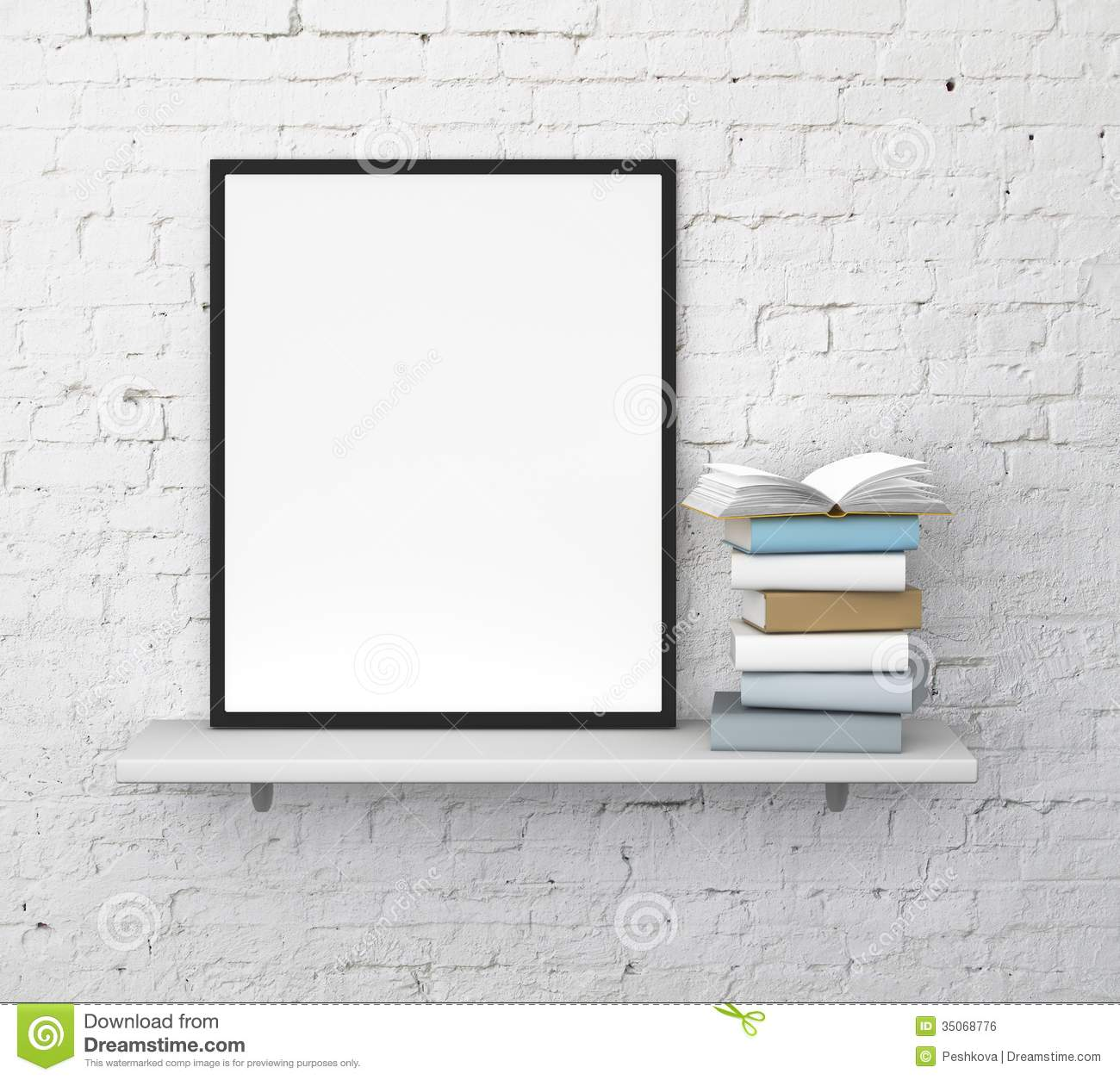 Shelf With Frame Royalty Free Stock Image - Image: 35068776