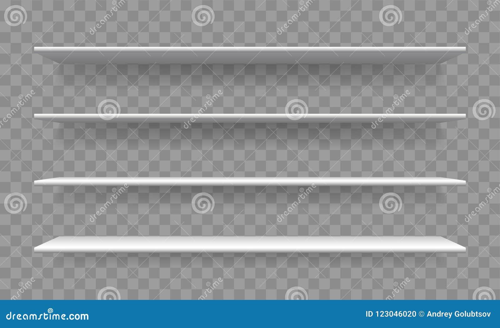 Shelf White Blank 3D Realistic Vector Bookshelf