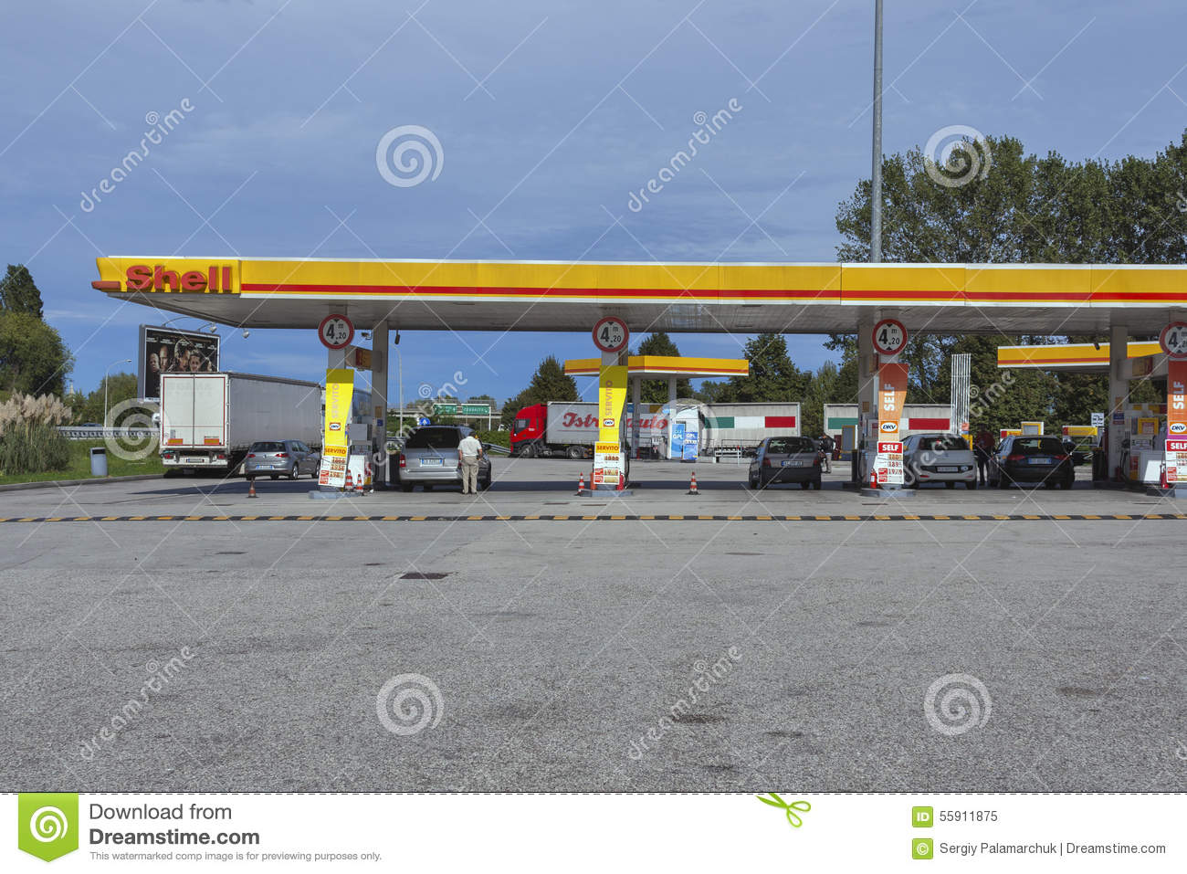 Shell gas station in Italy