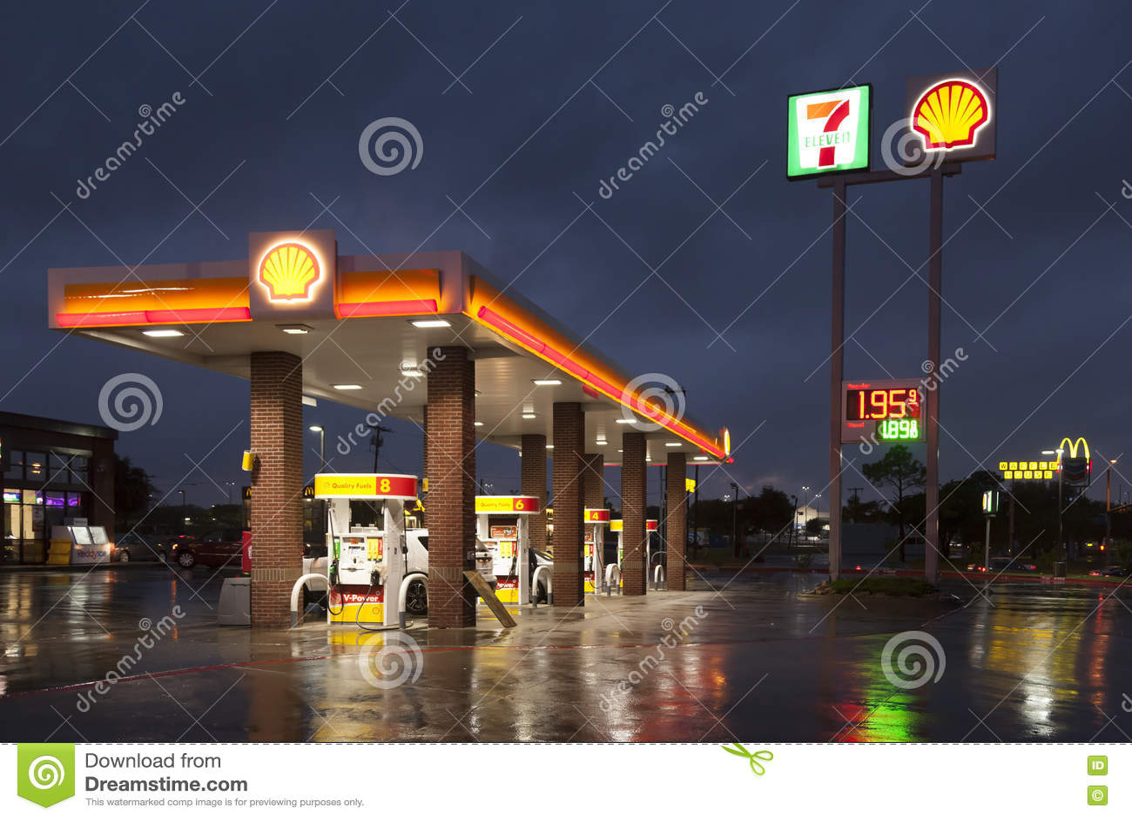 Shell Gas Station at night