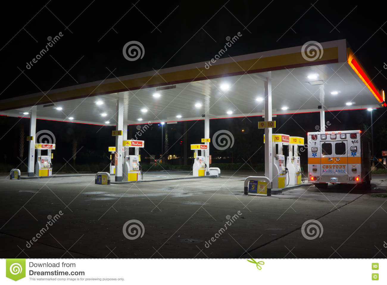 Shell Gas Station at Night