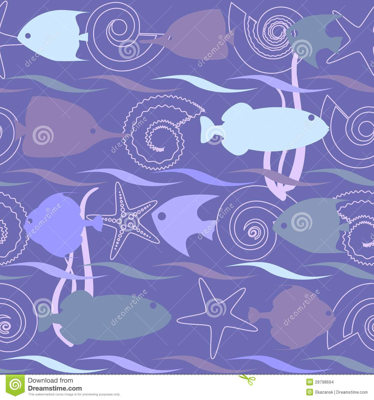 Shells and fish seamless pattern stock vector for Seamless fish tank