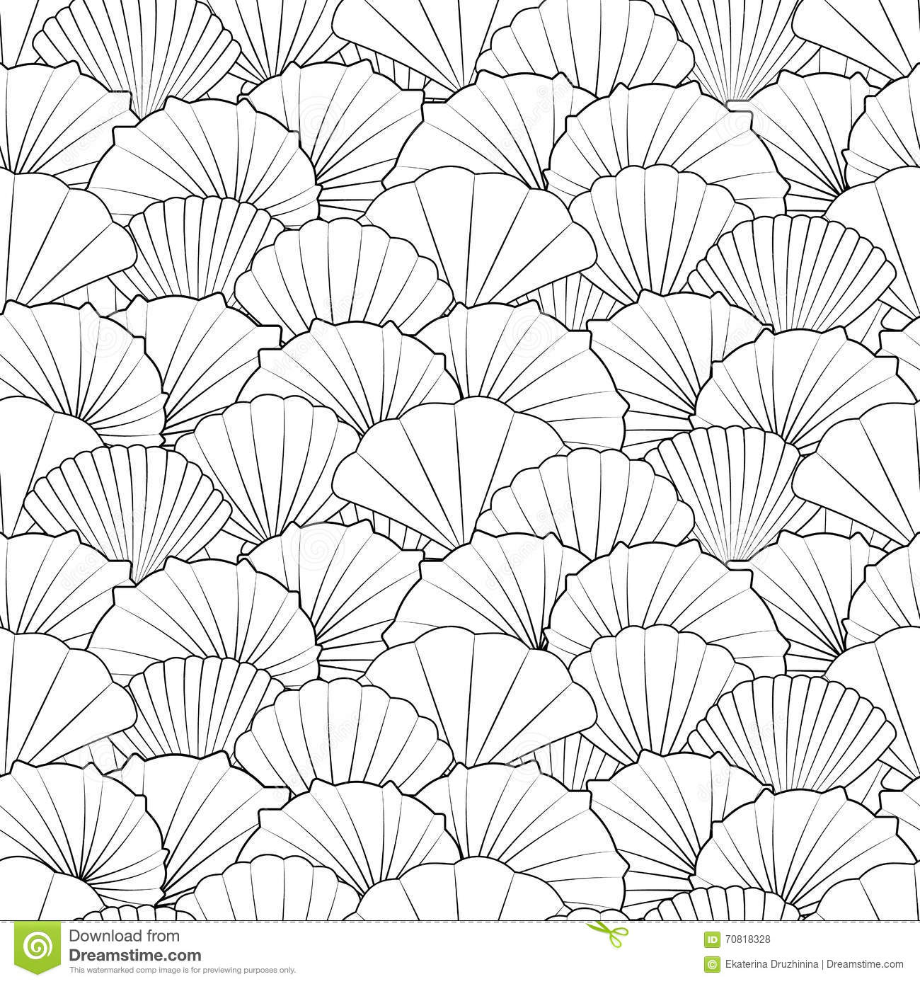 Contemporary Line Drawing Artists : Shells seamless pattern stock vector image